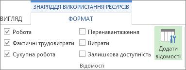 Вкладка ''Знаряддя використання ресурсів – Формат'', кнопка ''Додати відомості''