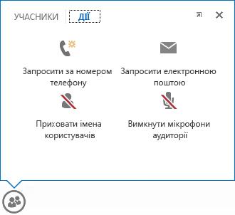 Знімок екрана меню із зображенням наведеного вказівника миші на кнопку ''Контакти'' разом із вибраною вкладкою ''Дії''