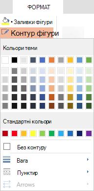 У меню контур фігури у програмі PowerPoint Online