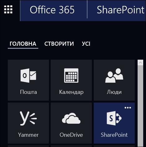 "Плитка ""Сайти"" в службі Office365"