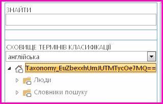 Знімок екрана подання дерева в засобі керування сховищем термінів, на якому відображено назву класифікації та дочірні папки.