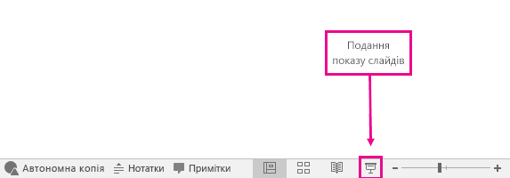 відображає кнопку перегляду показу слайдів у програмі PowerPoint