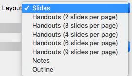 Виберіть макет Slide (Слайд) у діалоговому вікні Print (Друк).