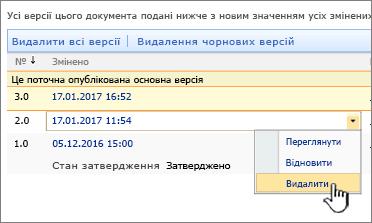 """Розкривне меню керування версіями з виділеною командою """"Видалити"""""""