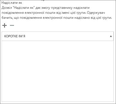 """Знімок екрана: клацніть знак """"плюс"""", щоб додати користувачів, яким потрібно надати можливість надсилати листи замість групи Office365"""