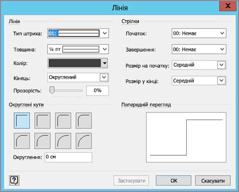 Діалогове вікно форматування лінії