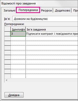 вікно «відомості про завдання», у якому відображається вкладка «попередники».