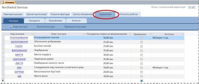 Вкладка ''Додатково'' шаблону бази даних послуг
