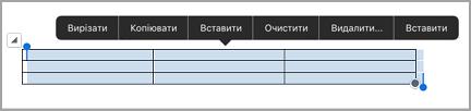 панель команд таблиці для iPad