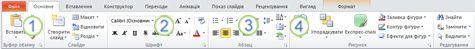 вкладка «основне» на стрічці у програмі powerpoint 2010.
