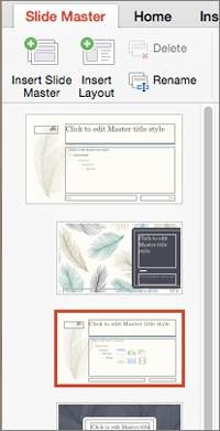 Макети в області ескізів під час редагування зразка слайдів