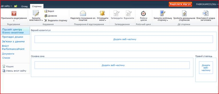 Сторінка веб-частин із зонами для додавання веб-частин