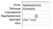 Знімок екрана: конструктор запитів з умовами, що використовують оператор Like і символ узагальнення