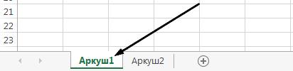Вкладки аркуша Excel буде в нижній частині вікна Excel.