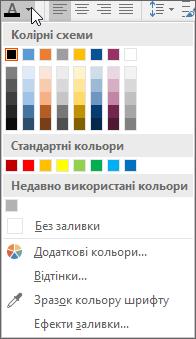 палітра кольорів шрифту