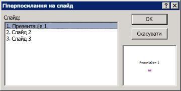 """Діалогове вікно """"Гіперпосилання на слайд"""""""