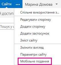 "Меню ""Параметри"" на сайті SharePoint у поданні для ПК"