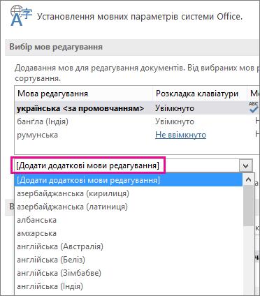 """Список """"Додайте додаткові мови редагування"""""""