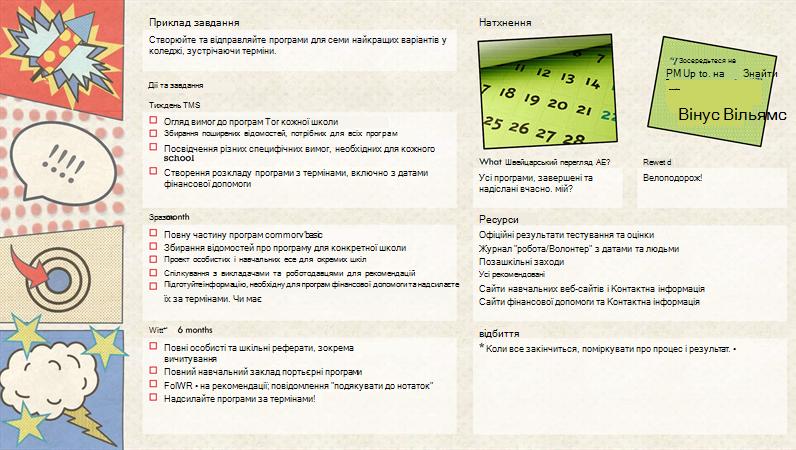 ілюстрація створення книги з параметрами цілей