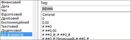 Діалогове вікно ' ' Формат клітинок ' ', Настроювана команда, [h]: mm Type (тип)