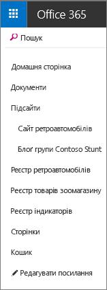 Панель швидкого запуску в SharePoint Online