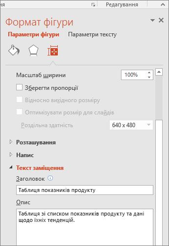"""Знімок екрана: область """"Формат фігури"""" з полем """"Текст заміщення"""", що містить опис вибраної таблиці"""
