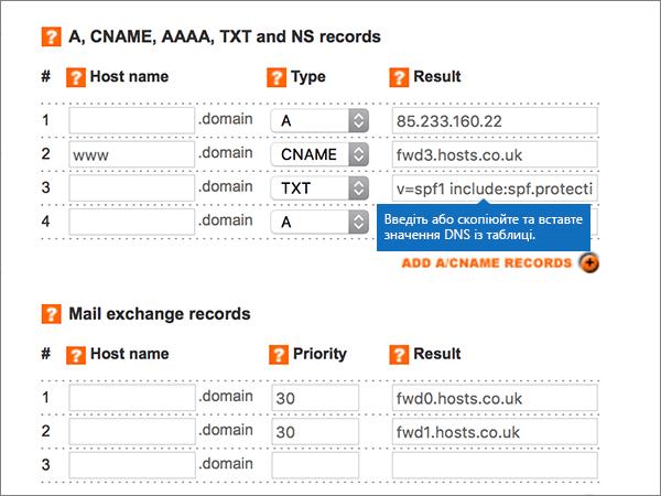 Введення значень на сторінці Add/Modify DNS Zone