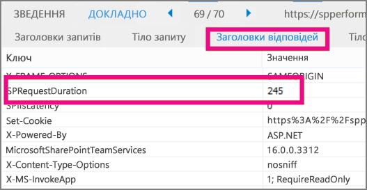 Знімок екрана: час завантаження показано як значення параметра тривалості запиту