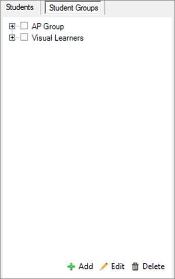 """Область розповсюдження сторінок із вибраною вкладкою """"Групи учнів"""" Інструменти для додавання, редагування й видалення груп учнів"""