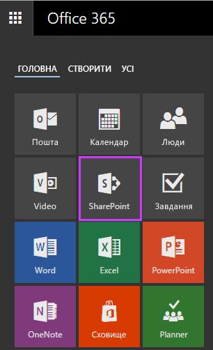 """Плитка """"Сайти"""" для доступу до сайтів SharePoint у службі Office365 для бізнесу"""