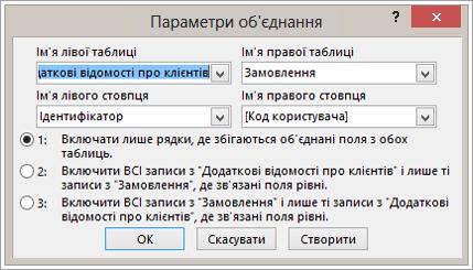 """Знімок екрана: властивості """"об'єднання"""" з виділенням лівого імені таблиці"""