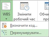 зображення вкладки project, кнопки «wbs», команди «перенумерувати» в розкривному меню.