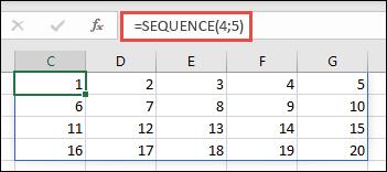 Приклад функції SEQUENCE, яка повертає масив із 4рядками та 5стовпцями