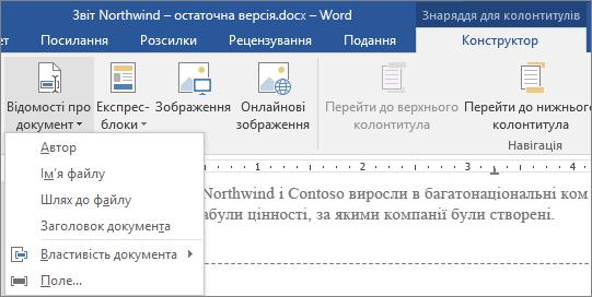 """На вкладці """"Знаряддя для колонтитулів"""" відображено кнопку """"Відомості про документ""""."""