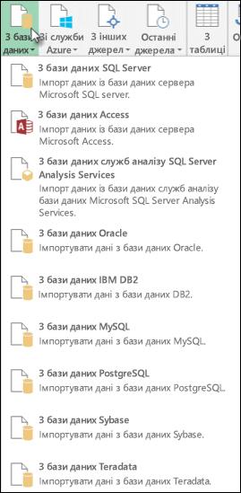 Отримання даних із бази даних діалогове вікно