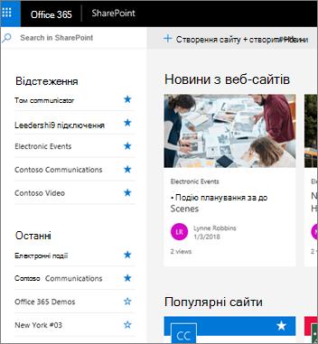 Домашня сторінка SharePoint Online