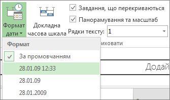 "Кнопка й меню ""Формат дати часової шкали"" в програмі Project"