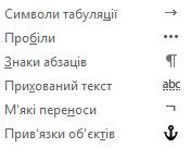 Нижче наведено форматування символів, доступні в повідомленнях електронної пошти.