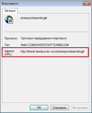 Діалогове вікно властивостей RSS-каналу