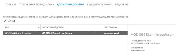 """Знімок екрана: сторінка """"Допустимі домени"""" в Центрі адміністрування Exchange. Відображаються відомості про ім'я, допустимий домен і тип домену ."""