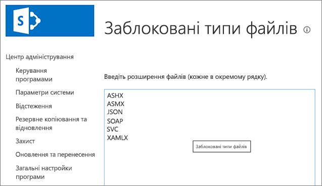 Список заблокованих файлів