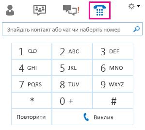 Знімок екрана із зображенням цифрової клавішної панелі для здійснення виклику