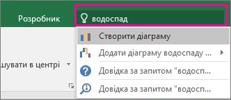 """Поле """"Допомога"""" з текстом """"водоспад"""" і результатами в програмі Excel2016 для Windows"""