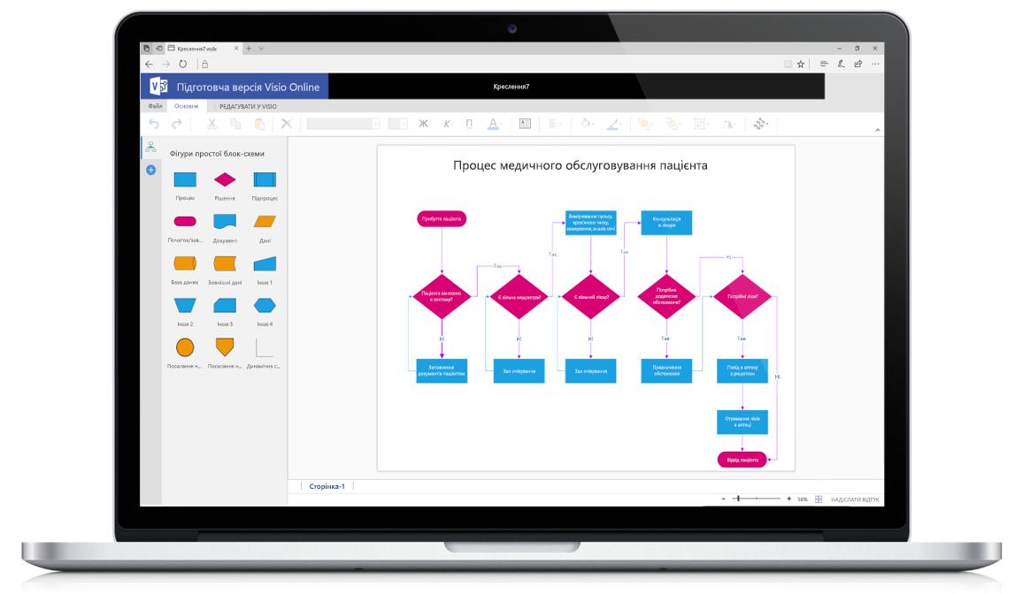 Схема Visio Online, створена на ноутбуці