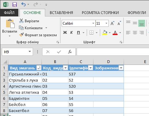 Розширення таблиці у програмі Excel
