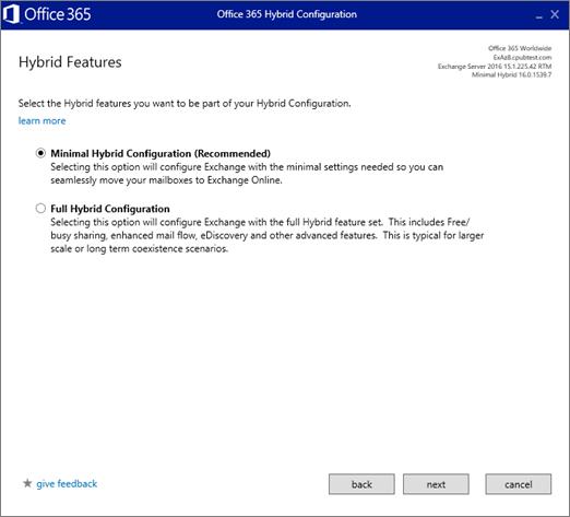 """На сторінці """"Hybrid Features"""" (Гібридні функції) виберіть """"Minimal Hybrid Configuration"""" (Мінімальна гібридна конфігурація)"""
