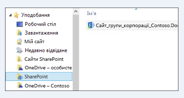 знайдіть синхронізовані бібліотеки сайту в уподобаннях папки sharepoint