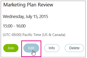 Meeting details with Edit button highlighted