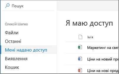 Знімок екрана: я маю доступ перегляду в службі OneDrive для бізнесу
