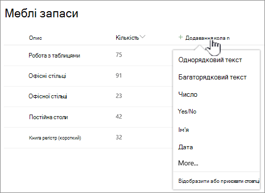 Список із виділеною кнопкою додавання стовпця
